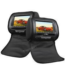 "2x 7"" Black Car Headrest Monitors w/DVD Player/USB/SD+Games Sony Lens 800*480 B"
