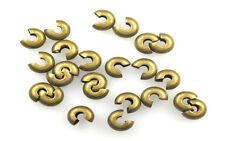 100 Antique Gold Plated Brass Crimp Bead Covers 4MM