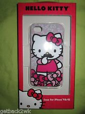 NEW Hello Kitty iPhone 4 4S Phone Clip Case Cover Single Piece Grey Bow
