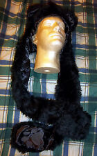 Faux Fur Plush Black Bear Animal Hood with Long Scarf & Pocket Paw Mittens CUTE!