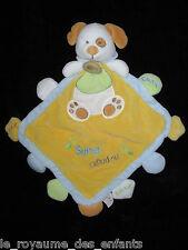 Super Doudou plat Grelot losange Chien jaune bleu blanc vert Babynat' Baby Nat'