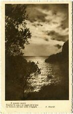 1938 Auguri Natale Paesaggio Mare Poesia A. Aleardi Cremona FP B/N VG ANIM