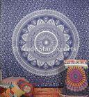 Blue Ombre Wall Decor Art Handmade Mandala Tapestry King Size Cotton Bedspread