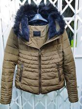 Zara doble cuello adorno de piel chaqueta de color caqui Tamaño S 8 10 magnífico Anorak Abrigo