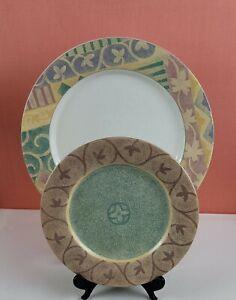 SANGO Intrigue Dinner & Salad Plates - Tan/Pink/Lavender Stripes/Vines