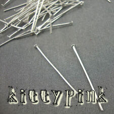 100 Silver Plated Headpins 30 x 0.7mm Head Pins