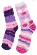 Fuzzy Socks Lounging Cozy 2 Pairs Ladies Sizes 9 To 11 Striped Design