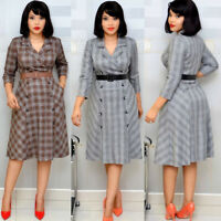 Plus Size Women Tailored Neck 3/4 Sleeves Plaids Print Double-breasted Dress