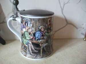 "Kaiser Vintage Pictorial Munich Beer Stein TAVERN SCENE with Pewter Lid 5"" HIGH"