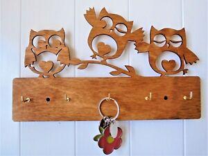 Cute owl wooden key holder rack keys wall mounted 5 hooks gift cute birthday
