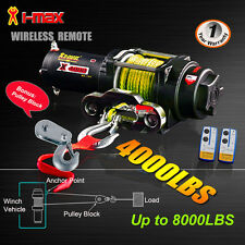 4000LBS/1814kg 12V Wireless Electric Winch Yellow Synthetic Rope Boat ATV 4WD