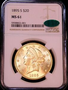 1895-S $20 Gold Liberty NGC MS61 CAC Spectacular Luster Gorgeous coin #GE668