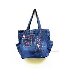 Blue Jean Bag Recycled Denim Jeans Handmade Shoulder Tote Woman Purse Handbag #6