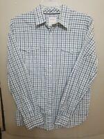 Levis Mens Modern Fit Western Shirt Gray Plaid Pearl Snap Button Sz Large EUC