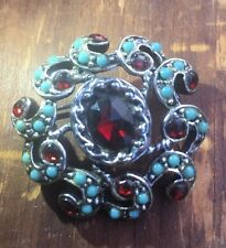 VTG GOLDETTE Costume Jewelry Ruby RED Turquoise RHINESTONES BROOCH PIN Silver A+