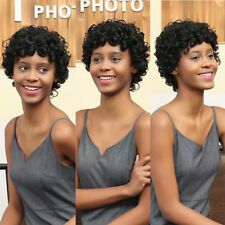 Women Short Black Brown Front Curly Hairstyle Synthetic Hair Wigs Wig For Lady
