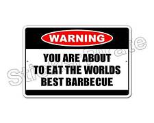 """*Aluminum* Worlds Best Barbecue Warning 8"""" x 12"""" Funny Metal Novelty Sign   NS"""