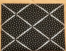 French Bulletin Board Photo Memo Black w/ White Polka Dot Print 12 x 16 inches