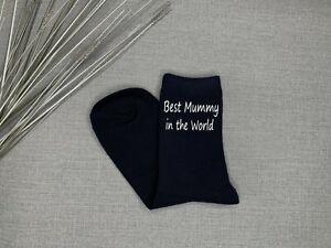 Best Mummy in The World Ladies Navy Socks Christmas Gift Vinyl Printed Christmas