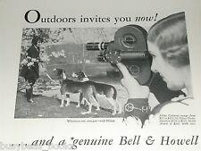 1931 Bell & Howell ad, Filmo movie camera, Filmo 16mm, girl walking dogs