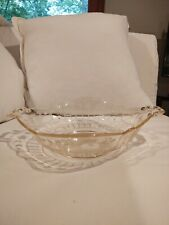 """Yellow Depression Glass Etched Serving Bowl 10"""""""