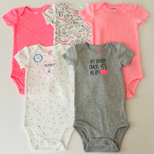 Carters 12 Months 5-pk Bodysuits Baby Girl Clothes Short Sleeve Dinosaur Pink