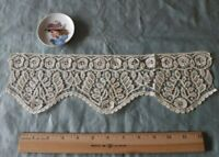 "Antique French 19th Handmade Lace Cuff~L~4 3/4""   X W-15"""