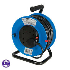 Extension Lead & Cable Reel, 25m, 13A 240V, Robust Heavy Duty, Freestanding