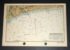 BOURNEMOUTH, Dorset - Rare Vintage WW2 Naval Military Map 1943