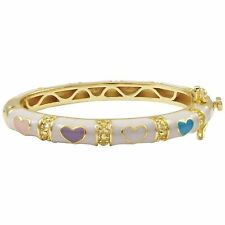Gold Plated White Multi Color Enamel Hearts Newborn Baby Bangle Bracelet 35 mm