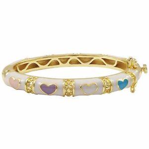 Gold Plated White Multi Color Enamel Hearts Kids Girls Bangle Bracelet 42 mm