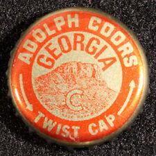 COORS BEER GEORGIA TAX PLASTIC LINED BEER BOTTLE CAP GOLDEN, COLORADO CROWNS GA+