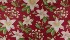 Red Pink Floral Linen Curtain Cushion Fabric Remnant Off Cut Crowson Maluku