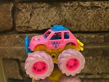 Vintage New Ray Toys Co. -Pink Turquoise Friction Push Powered Monster Truck Toy