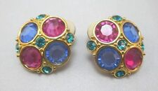 SWAROVSKI GOLD PLATED CLIP ON EARRINGS WITH COLORED RHINESTONES **