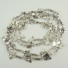 1X Vintage Style Silver Tone Necklace Charms Chains Findings 90cm