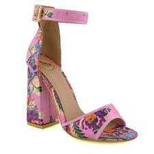 WOMENS SATIN HIGH HEEL SANDALS ANKLE STRAP PEEP TOE FLORAL LADIES PARTY SHOES