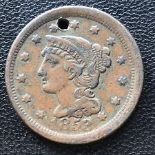 1853 Large Cent Braided Hair One Cent 1c Error Off Center #7079