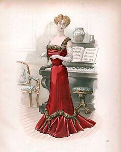 Lady in red dress vintage art print 10x8
