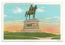 Vintage Pennsylvania Linen Postcard Valley Forge Anthony Wayne Monument