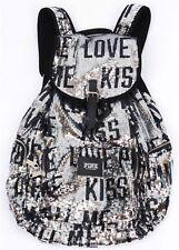 "Victoria's Secret PINK ""Kiss Me"" Backpack Sequins Bling Black Silver RARE NEW!"