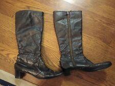 Vintage Womens Narrow Knee gogo boots zip black leather 8.5 n 8.5n aa Chandler's