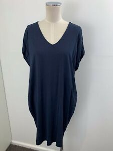 TRENERY Navy V Neck Lyocell Cotton Jersey Short Sleeve Dress sz M 12 Ladies [md