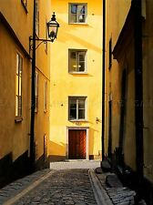 NARROW STREET HOUSES YELLOW COBLE ROAD ART PRINT POSTER PICTURE BMP264A