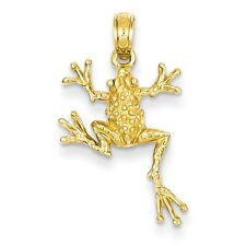 14k Yellow Gold Solid Polished Open-Backed Frog Pendant (0.9INx0.5IN)