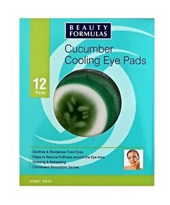 Cucumber Cooling Eye Pads x12 Beauty Formulas For Tired Eyes With Aloe Vera