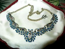 Lovely vintage silvertone and goldtone clear and blue rhinestone necklace