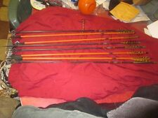 LOT OF 8 WOOD ARROWS WITH VINTAGE HILBRE 4 BLADE BROADHEADS