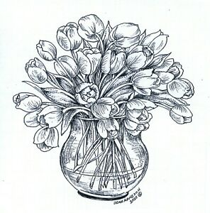 Tulips In Glass Round Vase NORTHWOODS Wood Mounted Rubber Stamp NEW PP10739