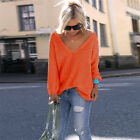 Women's Plus Size V-Neck Long Sleeve Loose Knitted Sweater Pullover Blouse Tops